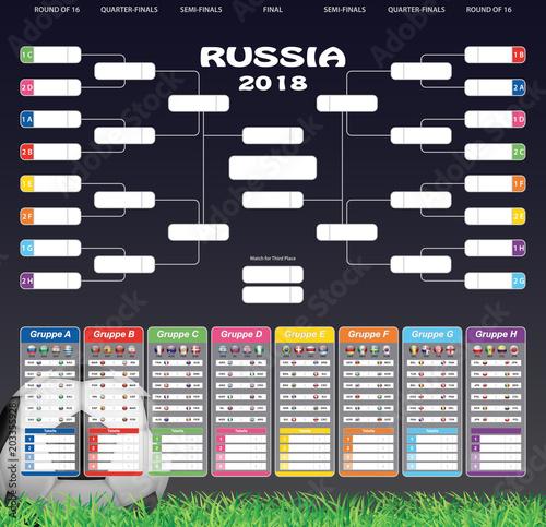 Fototapeta Spielplan '18 - Fußball