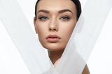 Face Skin Beauty. Beautiful Woman With Natural Makeup - 203357780