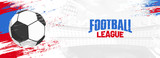 Football league, web banner design with soccer ball on colorful grungy background. - 203358342