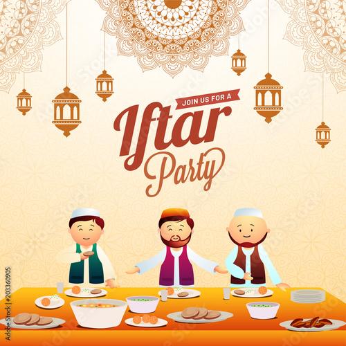 Iftar party invitation card desig with hanging lanterns, mandala floral pattersn, and muslim men enjoying iftar feast.