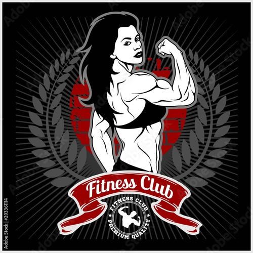 Wall mural Sexy girl in sportswear. Fitness lifestyle. Vector illustration
