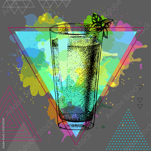 Fototapeta Hipster cocktail mojito illustration on artistic polygon watercolor background