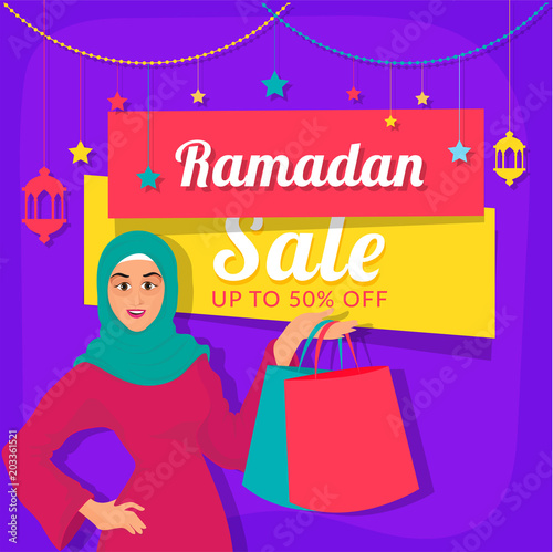 Poster Ramadan Sale concept with a traditional muslim woman holding shopping bags, hanging laterns and stars on purple colour background.