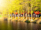 Small wooden forest cottages at the water.