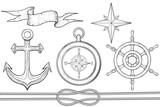 Set of nautical elements. Steering wheel, compass, anchor, rope. Hand drawn sketch