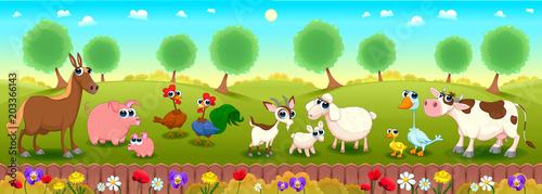 Plexiglas Kinderkamer Family farm animals in the nature