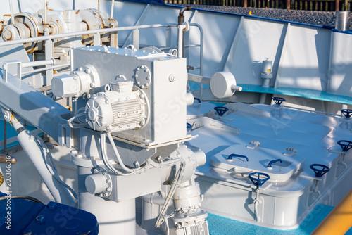 Plexiglas Noordzee Dechsaufbauten eines Fischtrawlers