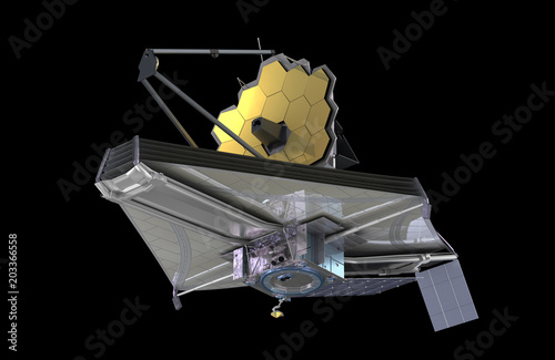 The James Webb Space Telescope (JWST or Webb), 3d illustration, elements of this image are furnished by NASA - 203366558