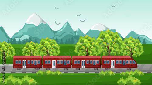 Fotobehang Groene Train traveling Vector. Red vehicle on Beautiful green backgrounds