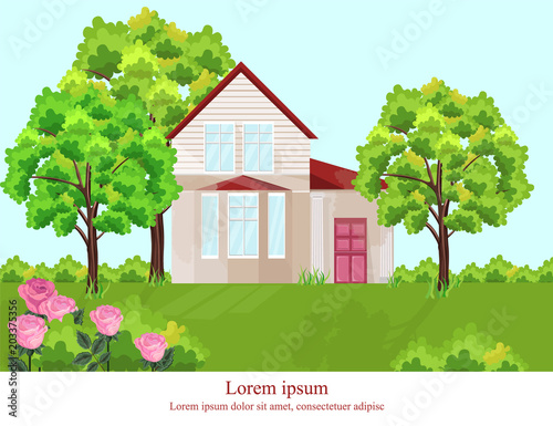 Aluminium Boerderij Architecture facade house Vector. Nature beautiful green yard backgrounds