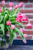 pink tulips in a vase - 203376139
