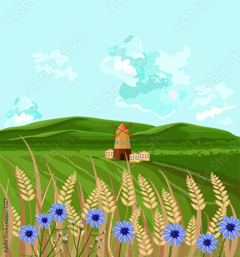 Fotobehang Lichtblauw Green fields Vector. Spring background decor illustrations