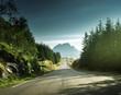 road in mountain, Lofoten islands, Norway