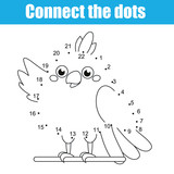 Connect the dots children educational drawing game. Dot to dot by numbers game for kids. Printable worksheet activity for toddlers with cartoon parrot
