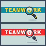 teamwork word with magnifier concept