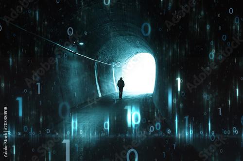 Futurystyczny cyberprzestrzeni sieci tło z mężczyzna w ciemnym tunelu.