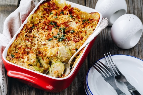 Canvas Brussel Baked brussel sprout gratin with a bacon and bread crumbs