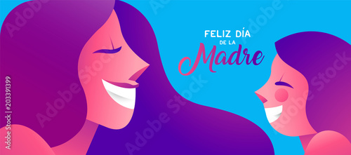Happy mother day spanish banner of girl and mom