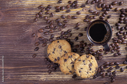 Poster Cup of coffee, beans and cookies