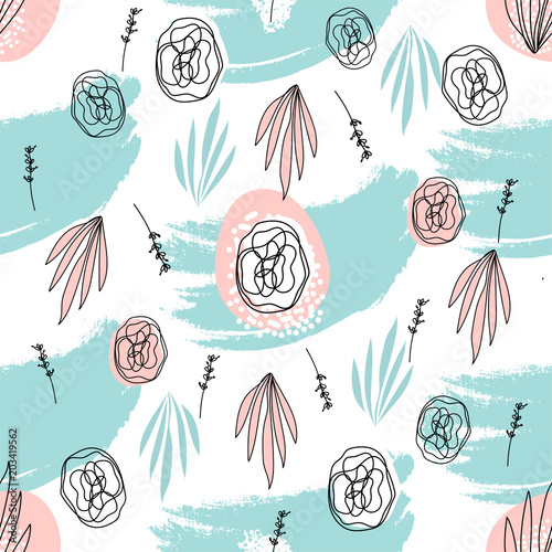 Abstract Hand Drawn Floral doodle seamless pattern. Freehand flowers and leaves on grunge brush texture. Artistic unusual pastel print. Art background for textile, wrapping, wallpaper, invitation, - 203419562