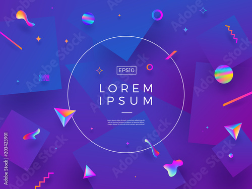 Abstract vector background. Composition with fluid and geometric shape and place for text or message.