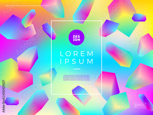 Abstract vector background. Composition with multicolored gradient faceted shape and frame for text or message