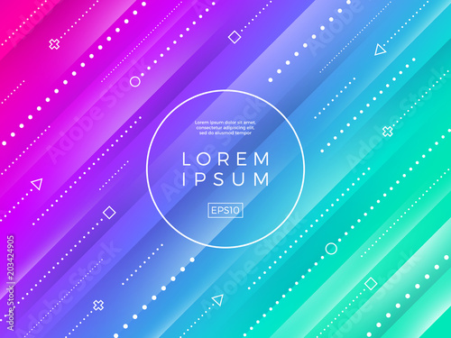 Abstract vector background. Striped multicolored background, dynamic dotted lines and frame for text or message. - 203424905