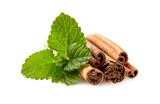 Mint leaf  and cinnamon isolated on white background - 203428996