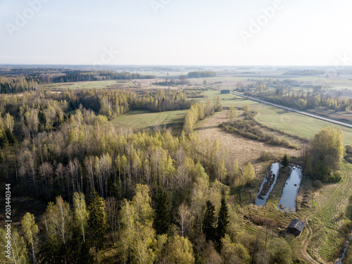 Fotobehang Wit drone image. aerial view of rural area with fields and forests in countryside