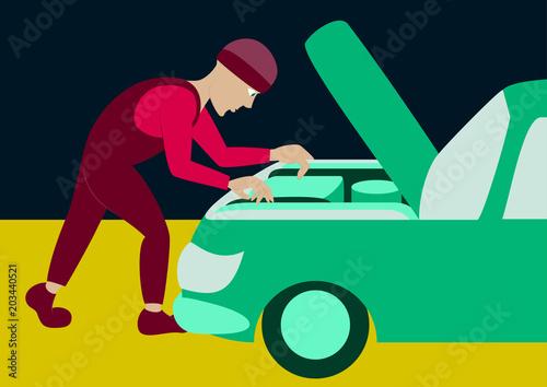 Fotobehang Auto Mechanic repairs car motor