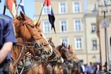 Fototapeta Horses - Ochrona, strażnik stoi przed konną jazdą Wojska Polskieg © blachowicz102