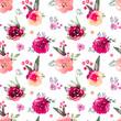 Decorative floral marsala  seamless pattern - 203444349