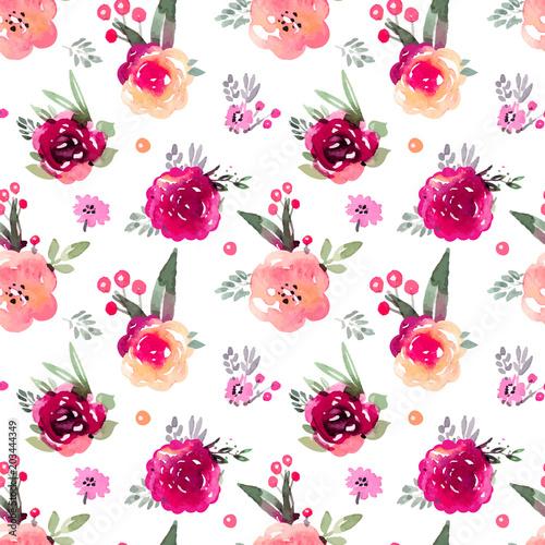 Fototapeta Decorative floral marsala seamless pattern