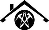 Dach und Werkzeuge, Aufkleber, Label, Dachdecker Logo - 203447389