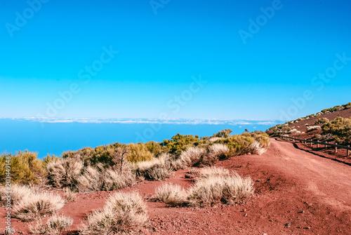 Plexiglas Blauw Scenic desert View from Mount Teide to La Palma. Tenerife, Canary Island