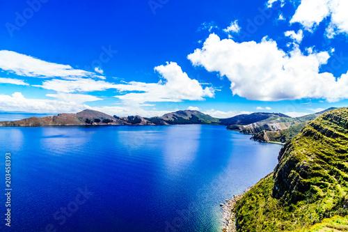 Plexiglas Donkerblauw View on remote landscape on Isla del Sol by Lake Titicaca - Bolivia