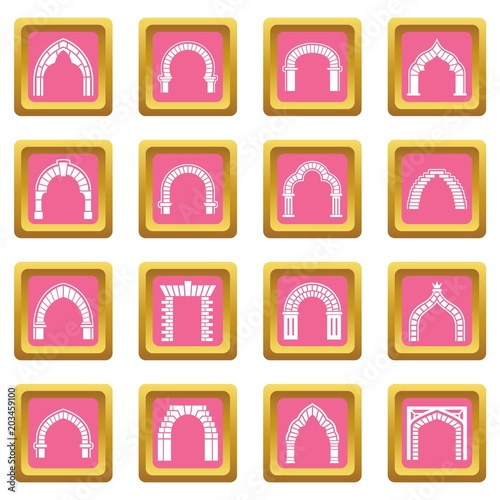 Arch types icons set vector pink square isolated on white background  © ylivdesign