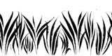 Vector seamless border with ink drawing grass, artistic botanical illustration, isolated floral elements, hand drawn repeatable illustration. - 203470744