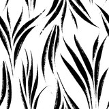 Tropical leaves, jungle pattern. Seamless, hand drawn, botanical pattern. Vector background. - 203470777