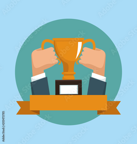 Hands holding trophy cup with ribbon banner emblem vector illustration graphic design