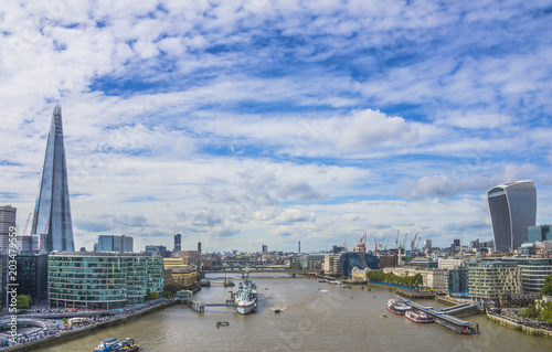 Panoramic view of the Thames River. London, England