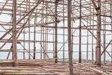 Close up of bamboo scaffolding in Hong Kong