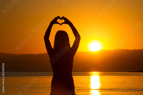 Plexiglas Strand Heart Sunset
