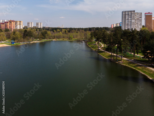 Plexiglas Moskou Top view on school lake in Zelenograd administrative district of Moscow, Russia