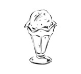 Hand drawn vector abstract artistic cooking ink sketch illustration drawing of ice cream scoop in glass cup isolated on white background.Kids menu concept - 203508966