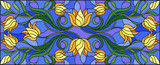 Illustration in stained glass style with flowers, leaves and buds of yellow tulips on a blue background, symmetrical image, horizontal orientation