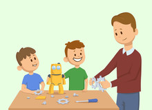 Happy Kids And A Man Making Yellow Toy Robot Together Man Assembling A Robot For The Children Cartoon  Illustration Flat Style  On Light  Sticker