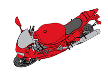 Red Sport Motorcycle  Sticker