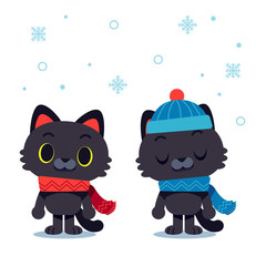 Vector cat characters wearing scarf and winter hat isolated on white background