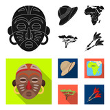 Cork hat, darts, savannah tree, territory map. African safari set collection icons in black, flat style vector symbol stock illustration web.